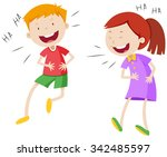 happy boy and girl laughing... | Shutterstock .eps vector #342485597
