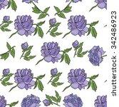 seamless peony pattern. | Shutterstock .eps vector #342486923