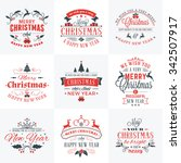 set of merry christmas and... | Shutterstock .eps vector #342507917