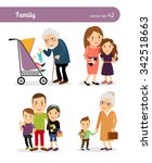 grandfather and granddaughter ... | Shutterstock .eps vector #342518663