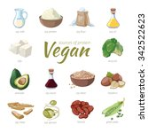 vegan sources of protein. plant ... | Shutterstock .eps vector #342522623