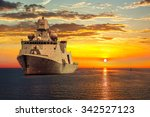 the military ship on sea at... | Shutterstock . vector #342527123