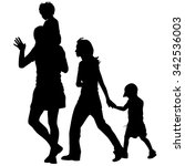 silhouettes family on white... | Shutterstock . vector #342536003