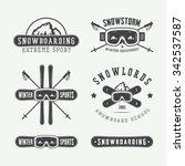 vintage snowboarding or winter... | Shutterstock .eps vector #342537587