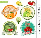 set of fresh and organic labels | Shutterstock .eps vector #342538547