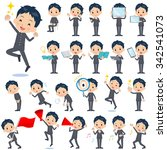 set of various poses of school... | Shutterstock .eps vector #342541073