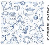 doodle space elements on... | Shutterstock .eps vector #342550343