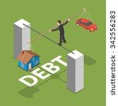 debt isometric flat vector... | Shutterstock .eps vector #342556283