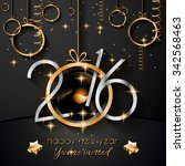 2016 happy new year and merry... | Shutterstock . vector #342568463