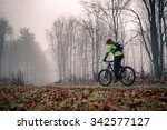 mountain biker on cycle trail... | Shutterstock . vector #342577127