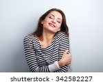 happy young casual woman... | Shutterstock . vector #342582227
