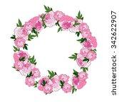 pink floral frame. peonies...   Shutterstock .eps vector #342622907