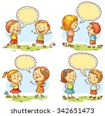 kids talking and showing... | Shutterstock .eps vector #342651473