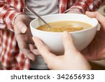 homeless man being handed bowl... | Shutterstock . vector #342656933
