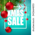 xmas sale poster with cristmas... | Shutterstock .eps vector #342664853