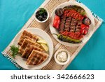 grilled kabab and arabic bread... | Shutterstock . vector #342666623