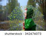 toddler and umbrella in autumn...   Shutterstock . vector #342676073