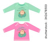 baby clothes with cartoon... | Shutterstock .eps vector #342678503
