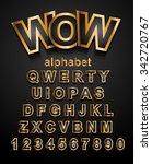 christmas golden alphapet font... | Shutterstock . vector #342720767