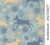 cute merry christmas seamless... | Shutterstock .eps vector #342723677