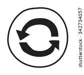 doodle recycle arrows icon.... | Shutterstock .eps vector #342734057