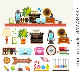 creative workplace. items and...   Shutterstock .eps vector #342734447