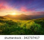mountain valley during sunrise. ... | Shutterstock . vector #342737417