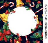 watercolor christmas greeting... | Shutterstock . vector #342740573