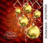 holiday background with golden... | Shutterstock .eps vector #342740963