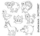 set of cute cartoon farm... | Shutterstock .eps vector #342753887
