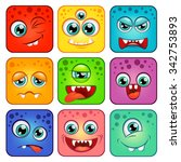 monsters. square cartoon faces...