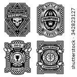 ornate black and white emblem... | Shutterstock .eps vector #342823127