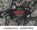 meat market  frame. linear... | Shutterstock .eps vector #342823433