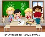 children studying in the...   Shutterstock .eps vector #342859913