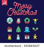 flat thin line christmas icons | Shutterstock .eps vector #342865637