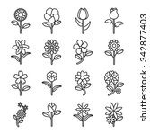 flower icons for pattern with... | Shutterstock .eps vector #342877403