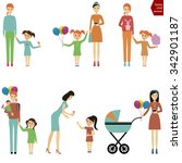 mother with a child for a walk  ... | Shutterstock .eps vector #342901187