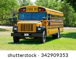 yellow summer camp school bus...   Shutterstock . vector #342909353