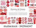 various jelly candies on white... | Shutterstock . vector #342966347