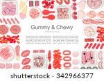 red and pink jelly candies on... | Shutterstock . vector #342966377