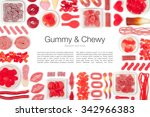 red jelly candies on white... | Shutterstock . vector #342966383