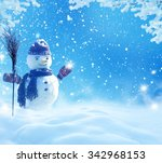 happy snowman standing in... | Shutterstock . vector #342968153