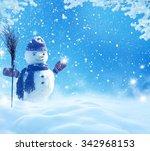 happy snowman standing in... | Shutterstock . vector #342968153