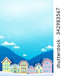 winter theme with christmas... | Shutterstock .eps vector #342983567