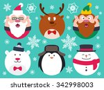 set of round flat christmas... | Shutterstock .eps vector #342998003