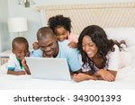 family having fun together in... | Shutterstock . vector #343001393