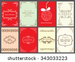 christmas vector vintage cards... | Shutterstock .eps vector #343033223