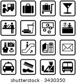 airport and travel icons and... | Shutterstock . vector #3430350