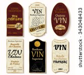 set of vintage wine labels with ... | Shutterstock .eps vector #343048433