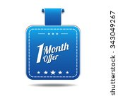 1 month offer blue vector icon... | Shutterstock .eps vector #343049267